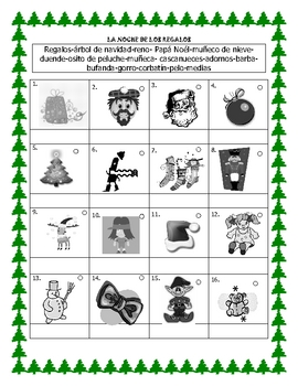La Noche de los Regalos - Characters and things vocabulary
