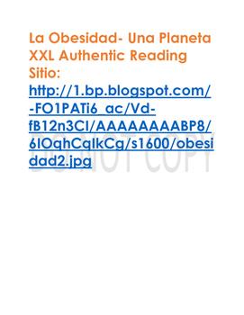 La Obesidad Authentic Reading Activity