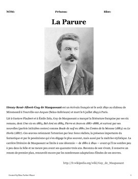La Parure (Maupassant) activities packet (French)