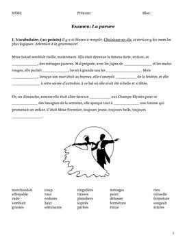 La Parure (Maupassant) exam (French)