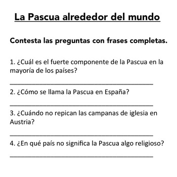 La Pascua: Easter Traditions in Spanish-Speaking Countries Listening Activity