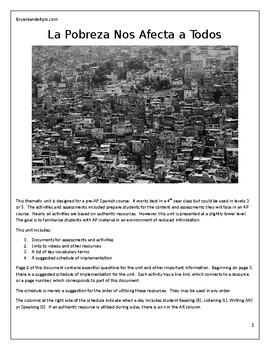 La Pobreza Nos Afecta a Todos: A Pre AP Spanish Thematic Unit