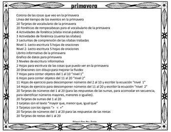 La Primavera  Mini Unidad Centros Matematicas Palabras Oraciones Spring Partida