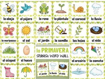 La Primavera SPANISH Spring Vocabulary Word Wall