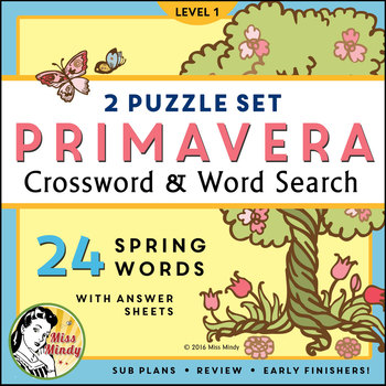 La Primavera: Spanish Spring Season Vocabulary Word Search Puzzle Worksheet