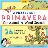 La Primavera: Spanish Spring Season Crossword Word Search Vocabulary Puzzles