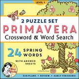 La Primavera: Spanish Spring Season Crossword Word Search Vocabulary Puzzles