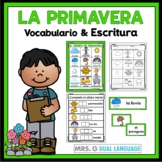 La Primavera  Spring Vocabulary Cards, Writing Center, Word Wall in Spanish