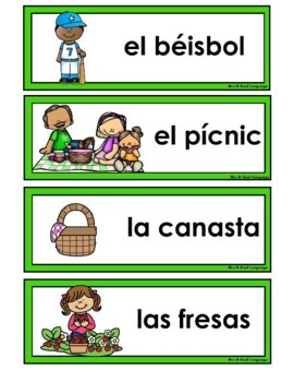 La Primavera  Spring Vocabulary Cards, Writing Center, Word Wall in Spanish