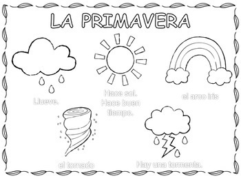 La primavera, Spring Weather Coloring Pages in Spanish