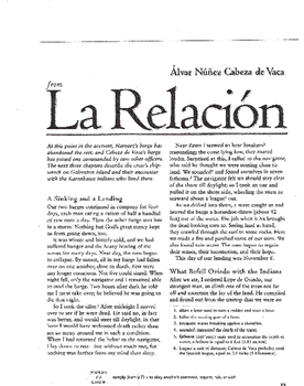 La Relacion by Alvar Nunez Cabeza de Vaca Complete Guided Reading Worksheet