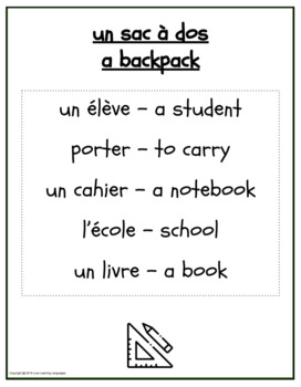 La Rentrée Scolaire - French Taboo Speaking Game
