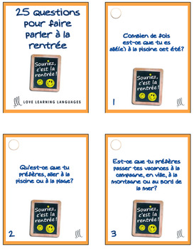 La Rentrée Scolaire French Task Cards - Beginner French Level - Cartes à Tâches