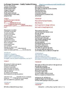 La Rompe Corazones - Daddy Yankee ft Ozuna - subjunctive