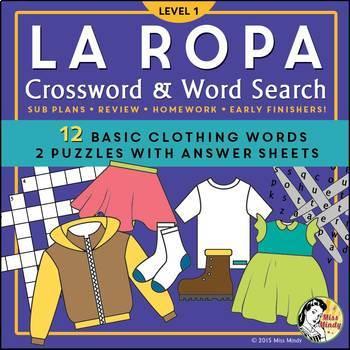 La Ropa (Basic) Spanish Clothing Vocabulary Crossword Puzzle Worksheet