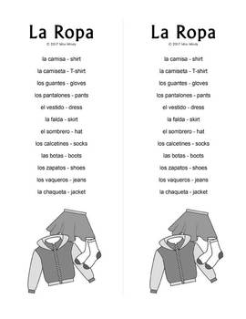 Spanish Clothing (Basic) La Ropa Crossword & Word Search Puzzles w/ Vocabulary