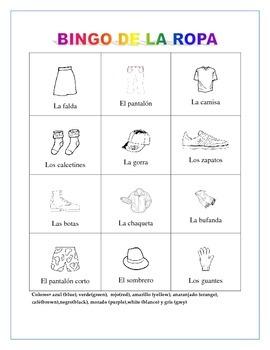 La Ropa- Color Bingo Game- Gender/Noun Practice- Spanish Clothing