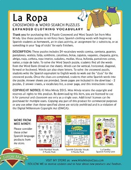 La Ropa (Expanded) Spanish Clothing Vocabulary Word Search Puzzle Worksheet