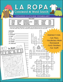 La Ropa (Expanded) Spanish Clothing Vocabulary Word Search