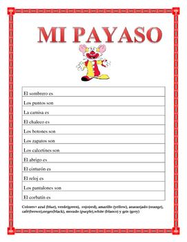 "La Ropa-Label the clothes Spanish-""El Payaso"" -Spring Clothing"