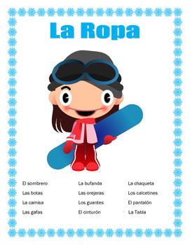 "La Ropa-Label the clothes Spanish-""La Surfista de Nieve"" -Winter Clothing"