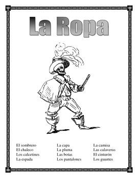 "La Ropa-Label the clothes Spanish-""El Pirata""-Writing Prompt-Summer"