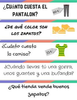 La Ropa: Novice Quiz Quiz Trade Conversation Cards for Clothing Unit