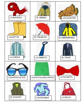 La Ropa Spanish Clothing BINGO / BRAVO Game set
