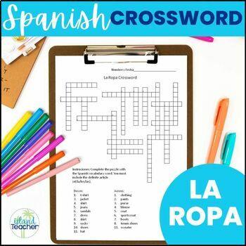 La Ropa Spanish Clothing Crossword Puzzle