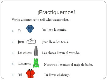 La Ropa Spanish Clothing PowerPoint Lesson and Game