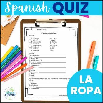 La Ropa Spanish Clothing Quiz