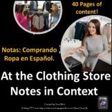 La Ropa Spanish Clothing Unit Notes and Vocabulary