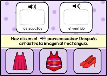 La Ropa ~ Spanish Clothing Vocabulary Digital BOOM Task Cards with Audio