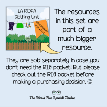 La Ropa, Spanish Clothing Vocabulary QUIZZES, 4 versions!