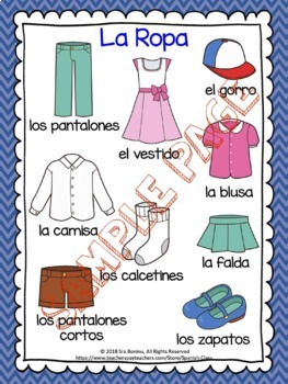 La Ropa Spanish Clothing Worksheets Flashcards By Spanish Class