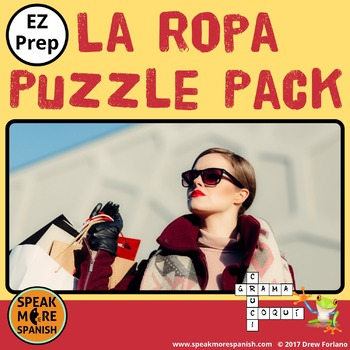 La Ropa. Spanish Puzzle Pack and Sub Plans with Clothes Vocabulary.