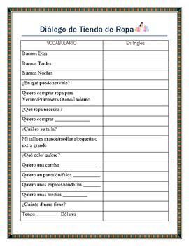 La Ropa-Spanish Store Dialogue Script- Spanish I & II