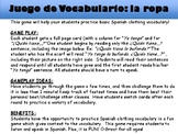 La Ropa- Spanish clothing vocabulary Speaking Game!