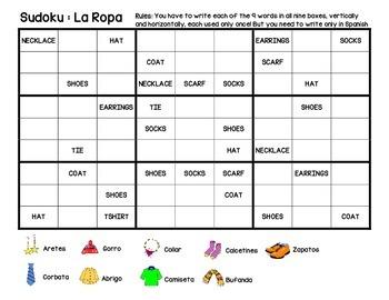 La Ropa Sudoku activity - Clothing items game