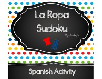 La Ropa Sudoku activity - Clothing items game
