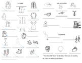 La Ropa Vocab Sheet