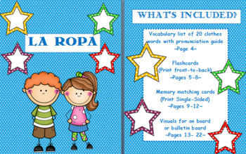 La Ropa- Vocabulary List, Flashcards, Memory Matching, & Board Visuals