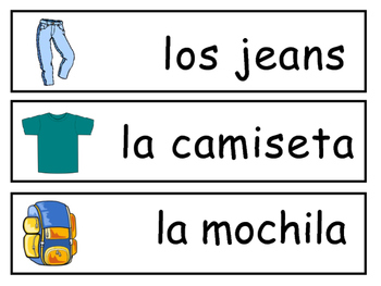 La Ropa Vocabulary Word Wall – Clothing Vocabulary in Spanish