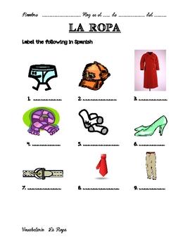 la ropa worksheet by se orita lugo teachers pay teachers. Black Bedroom Furniture Sets. Home Design Ideas