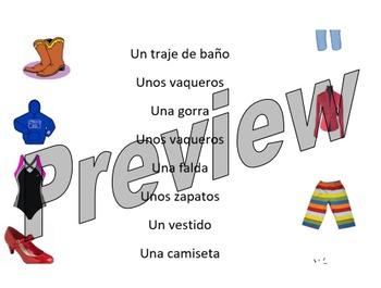 La Ropa - clothes match up worksheet