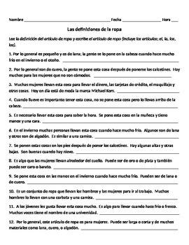 La Ropa (definiciones)  Spanish clothing definitions