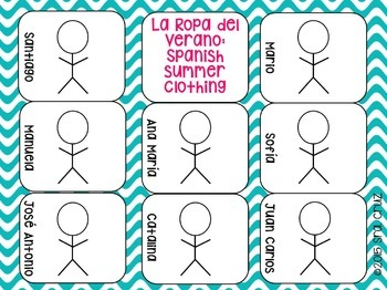 La Ropa del Verano:  Spanish Summer Clothing Task Cards FREEBIE