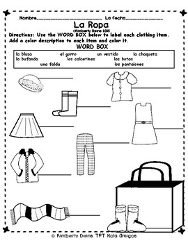 La Ropa, otra vez BOOK and Color Sheets - Learn Spanish clothing