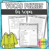 La Ropa y Los Accesorios Word Puzzles - Crossword and Word Search