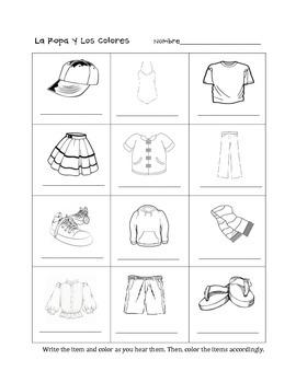 La Ropa y Los Colores/ Clothing and Colors